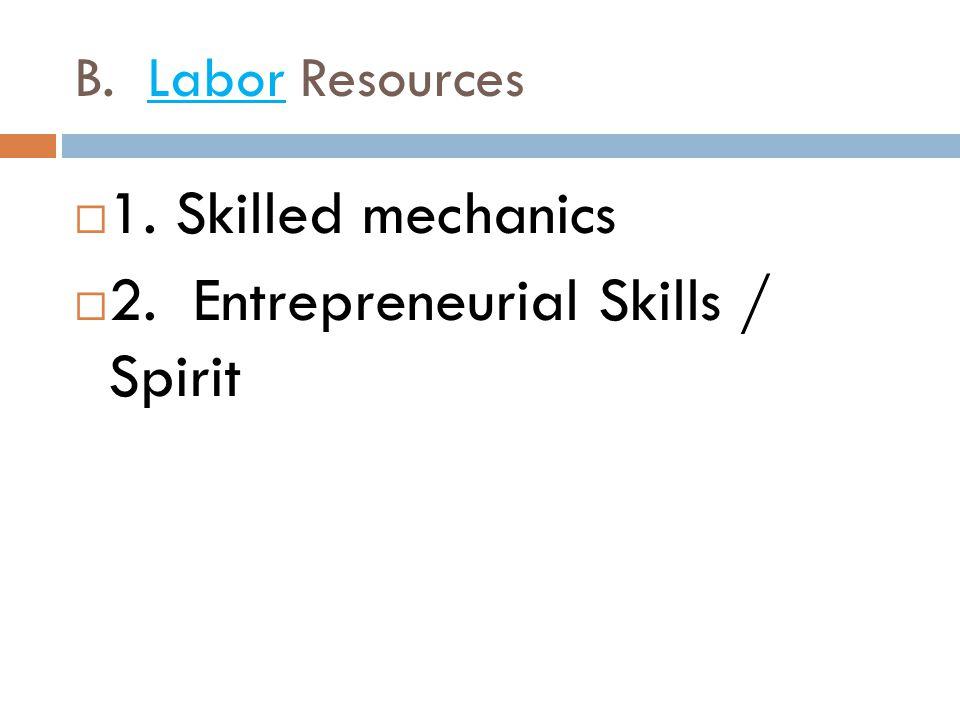 2. Entrepreneurial Skills / Spirit
