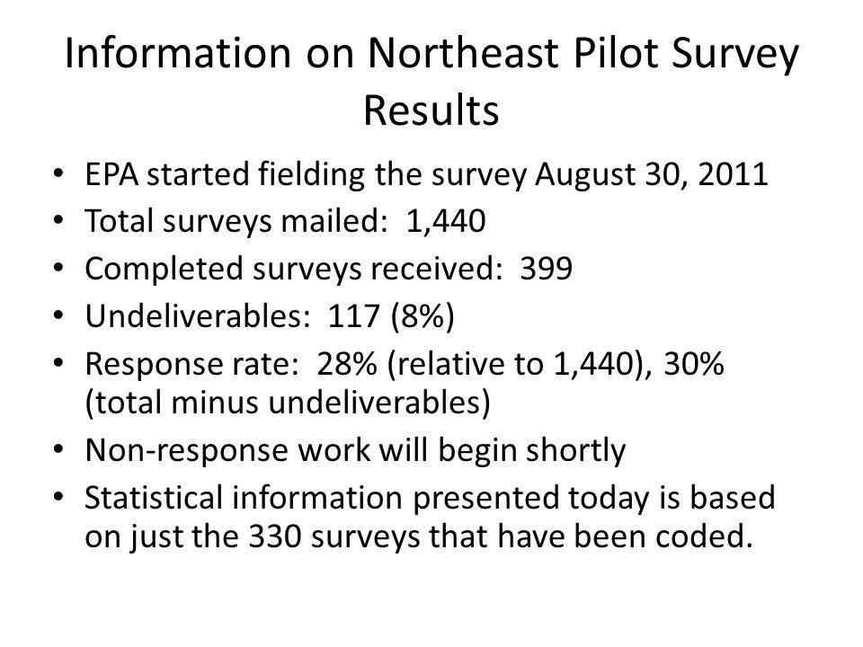 Information on Northeast Pilot Survey Results