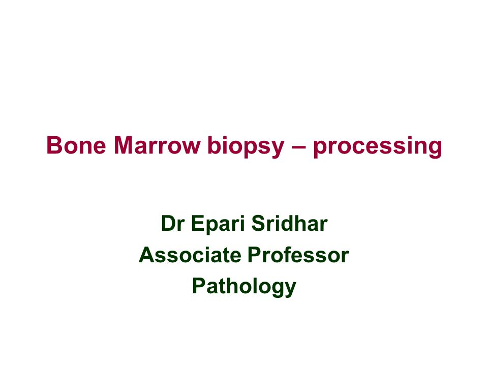 Bone Marrow biopsy – processing
