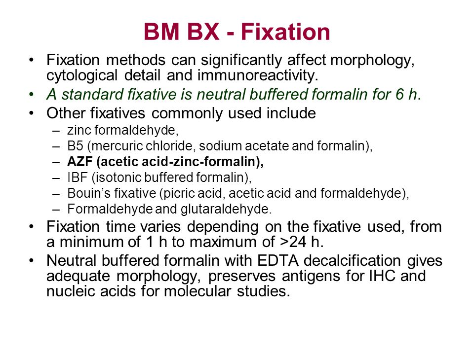 BM BX - Fixation Fixation methods can significantly affect morphology, cytological detail and immunoreactivity.