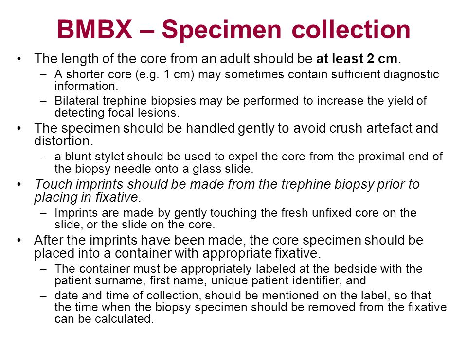 BMBX – Specimen collection