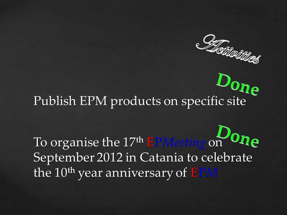 Activities Done Done Publish EPM products on specific site