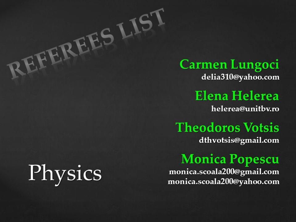 Referees List Physics Carmen Lungoci Elena Helerea Theodoros Votsis