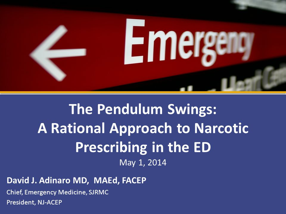 The Pendulum Swings: A Rational Approach to Narcotic Prescribing in the ED