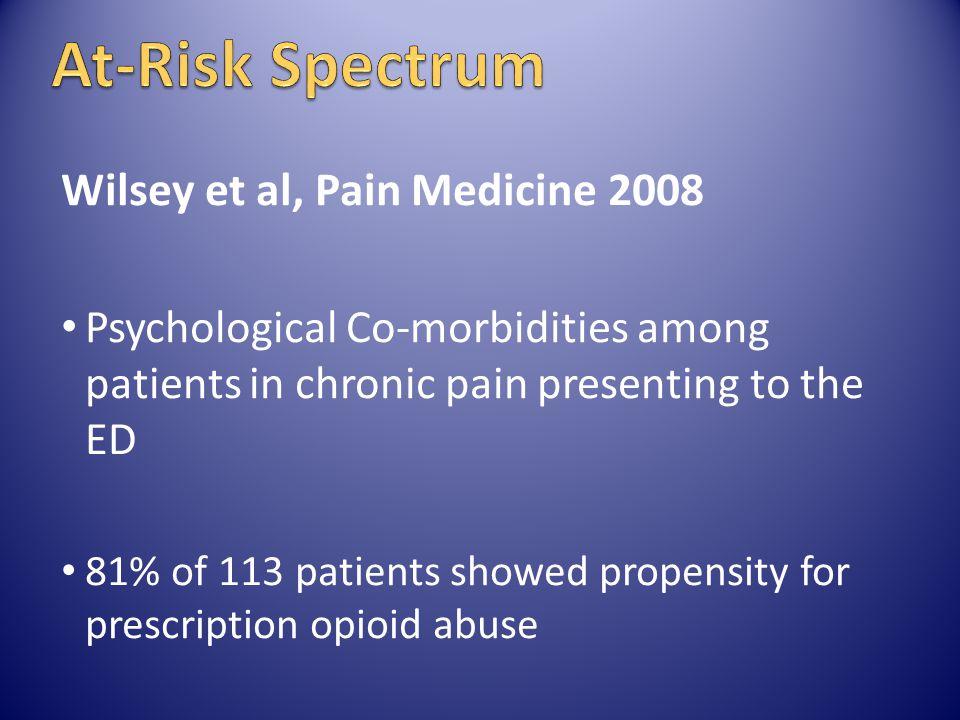 At-Risk Spectrum Wilsey et al, Pain Medicine 2008