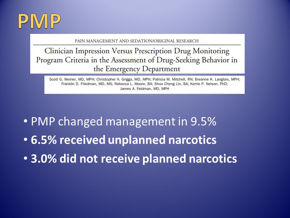 PMP PMP changed management in 9.5% 6.5% received unplanned narcotics