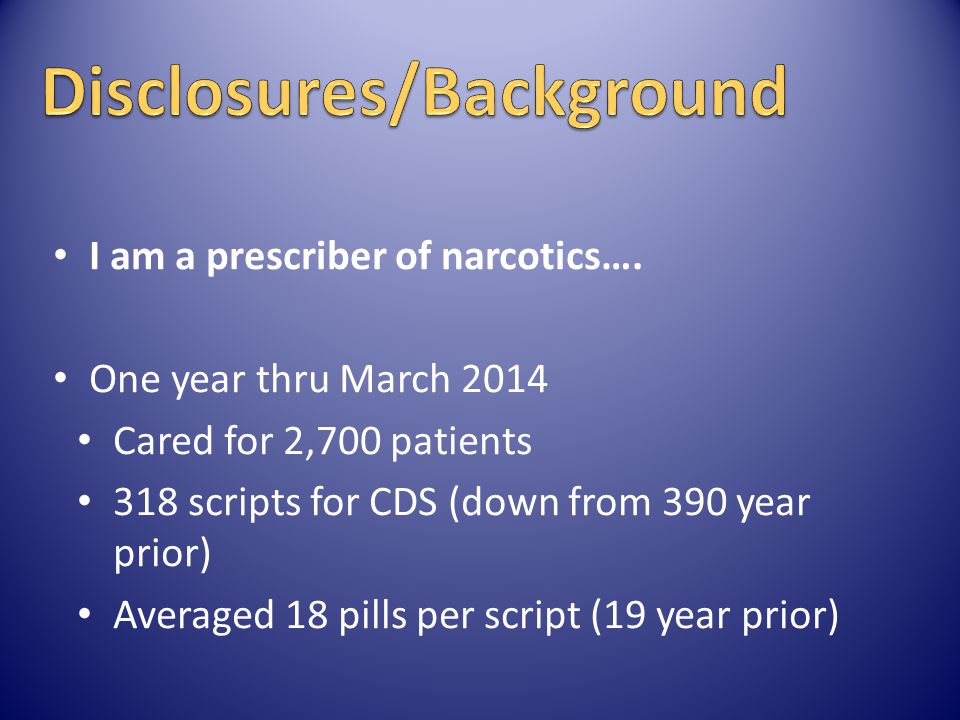 Disclosures/Background