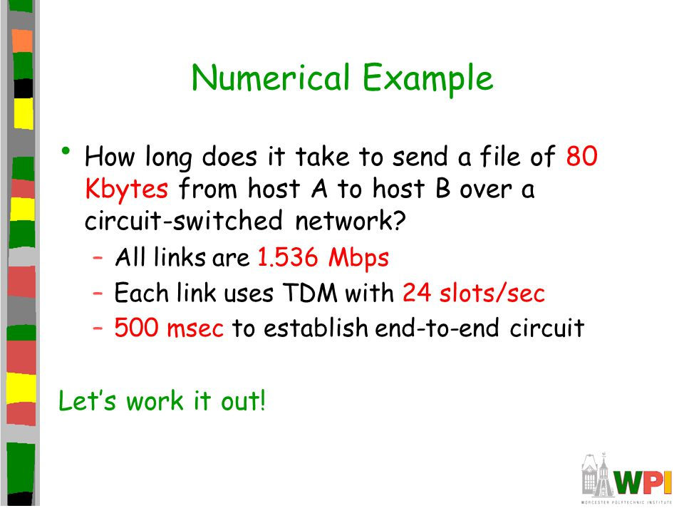 Numerical Example How long does it take to send a file of 80 Kbytes from host A to host B over a circuit-switched network