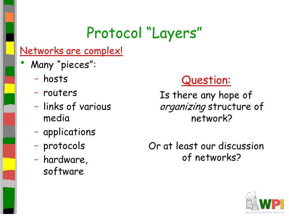 Protocol Layers Question: Networks are complex! Many pieces : hosts