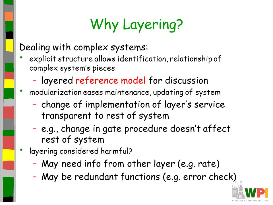 Why Layering Dealing with complex systems: