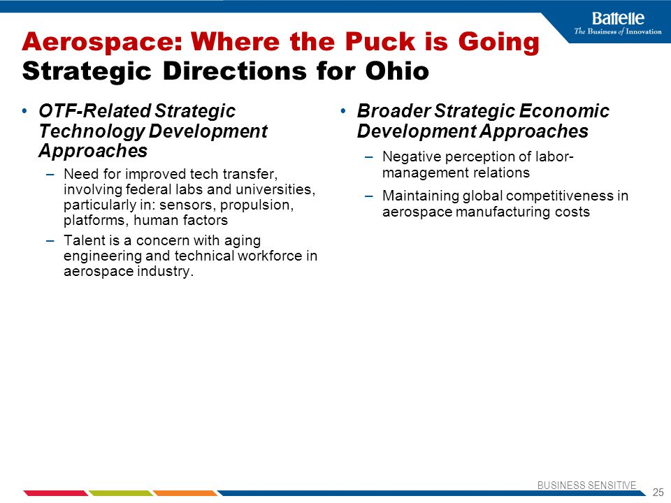 Aerospace: Where the Puck is Going Strategic Directions for Ohio