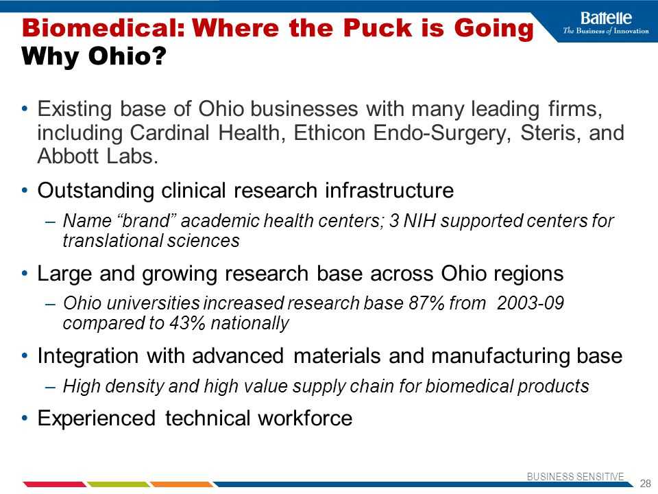 Biomedical: Where the Puck is Going Why Ohio