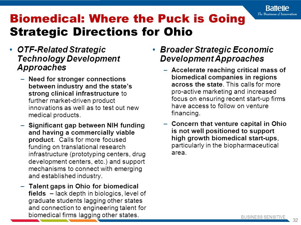 Biomedical: Where the Puck is Going Strategic Directions for Ohio