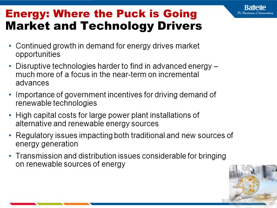 Energy: Where the Puck is Going Market and Technology Drivers