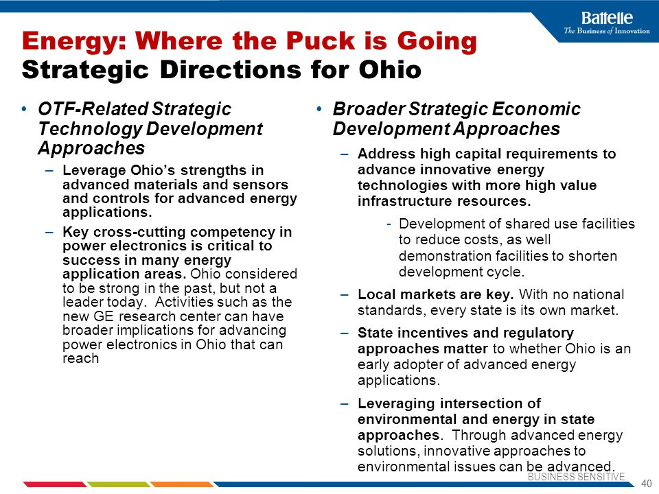 Energy: Where the Puck is Going Strategic Directions for Ohio