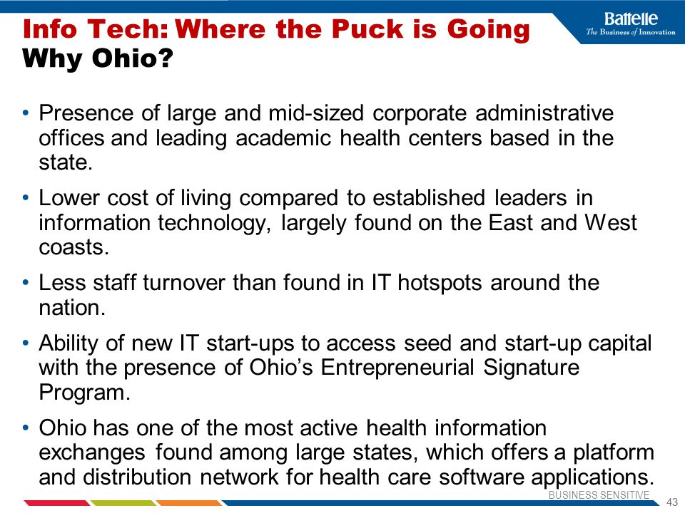 Info Tech: Where the Puck is Going Why Ohio