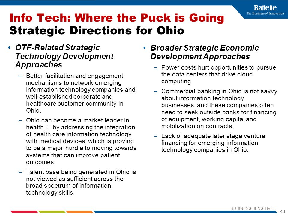 Info Tech: Where the Puck is Going Strategic Directions for Ohio