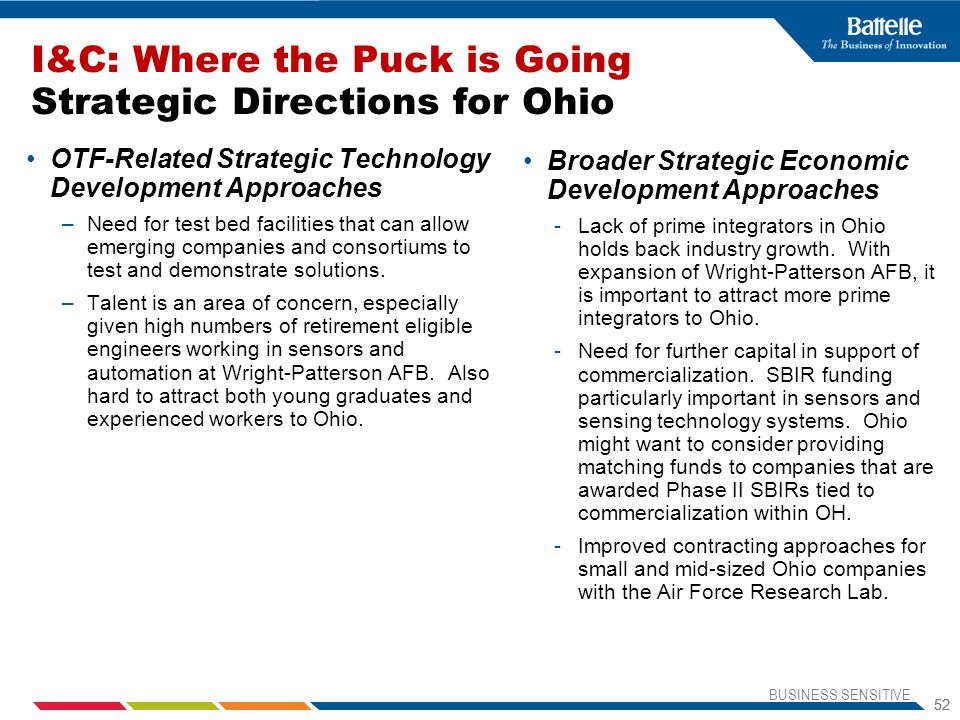 I&C: Where the Puck is Going Strategic Directions for Ohio