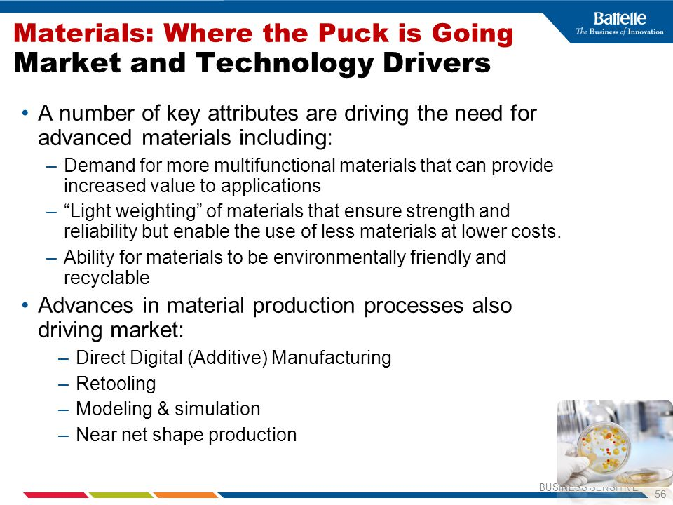 Materials: Where the Puck is Going Market and Technology Drivers