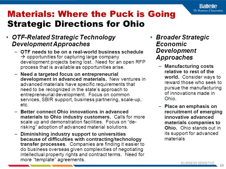 Materials: Where the Puck is Going Strategic Directions for Ohio