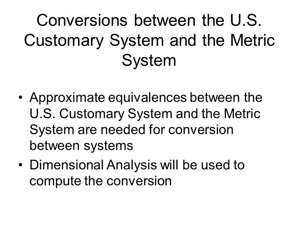 Conversions between the U.S. Customary System and the Metric System