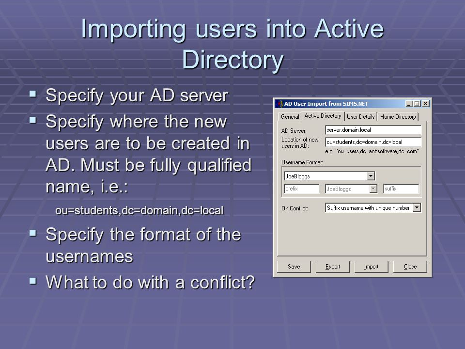 Importing users into Active Directory