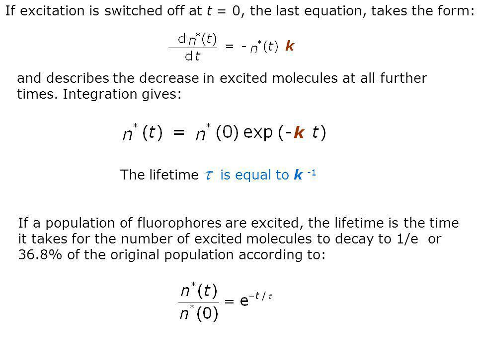 If excitation is switched off at t = 0, the last equation, takes the form:
