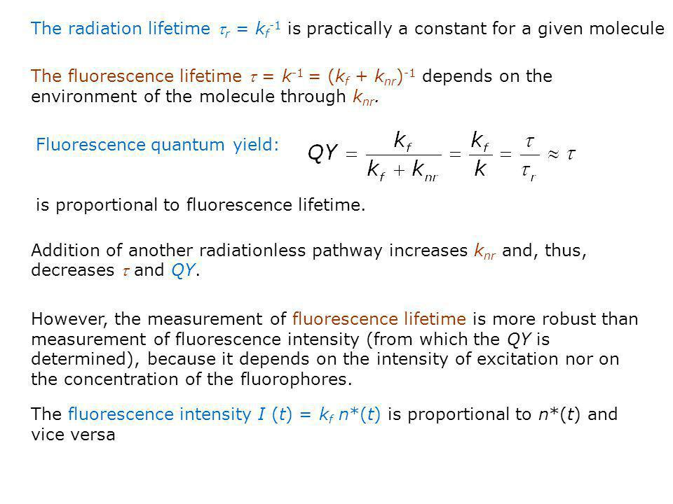 The radiation lifetime tr = kf-1 is practically a constant for a given molecule