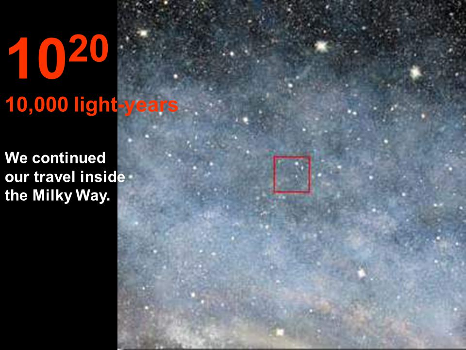 1020 10,000 light-years We continued our travel inside the Milky Way.