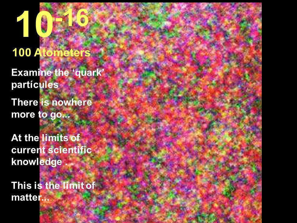 10-16 100 Atometers Examine the 'quark' partícules