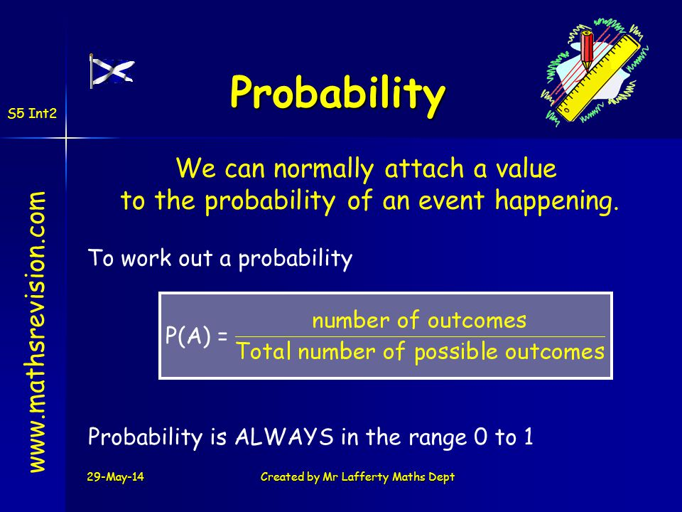 Probability We can normally attach a value