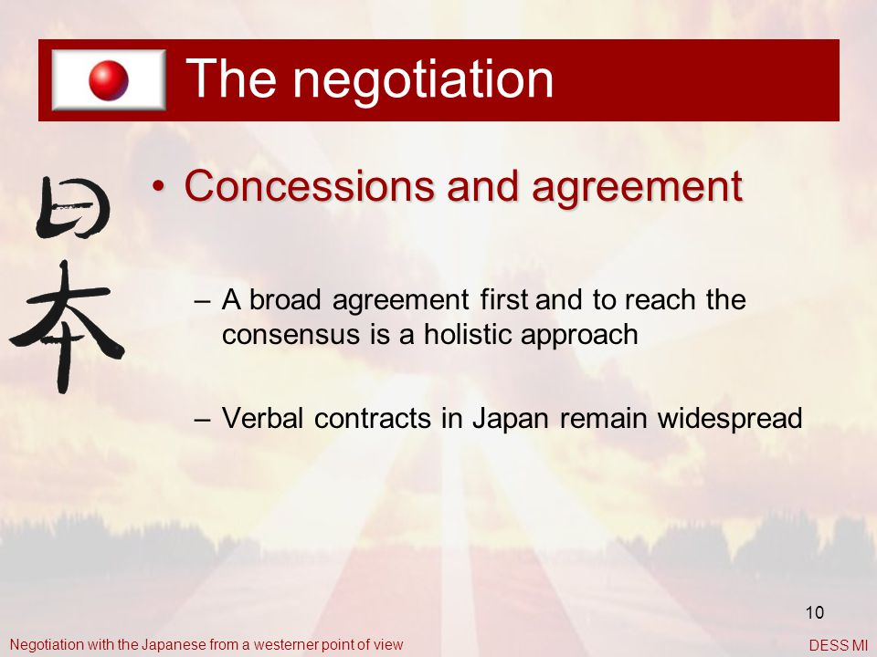 The negotiation Concessions and agreement