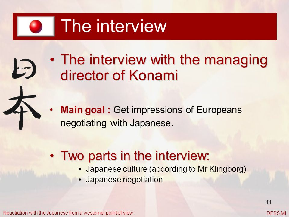 The interview The interview with the managing director of Konami