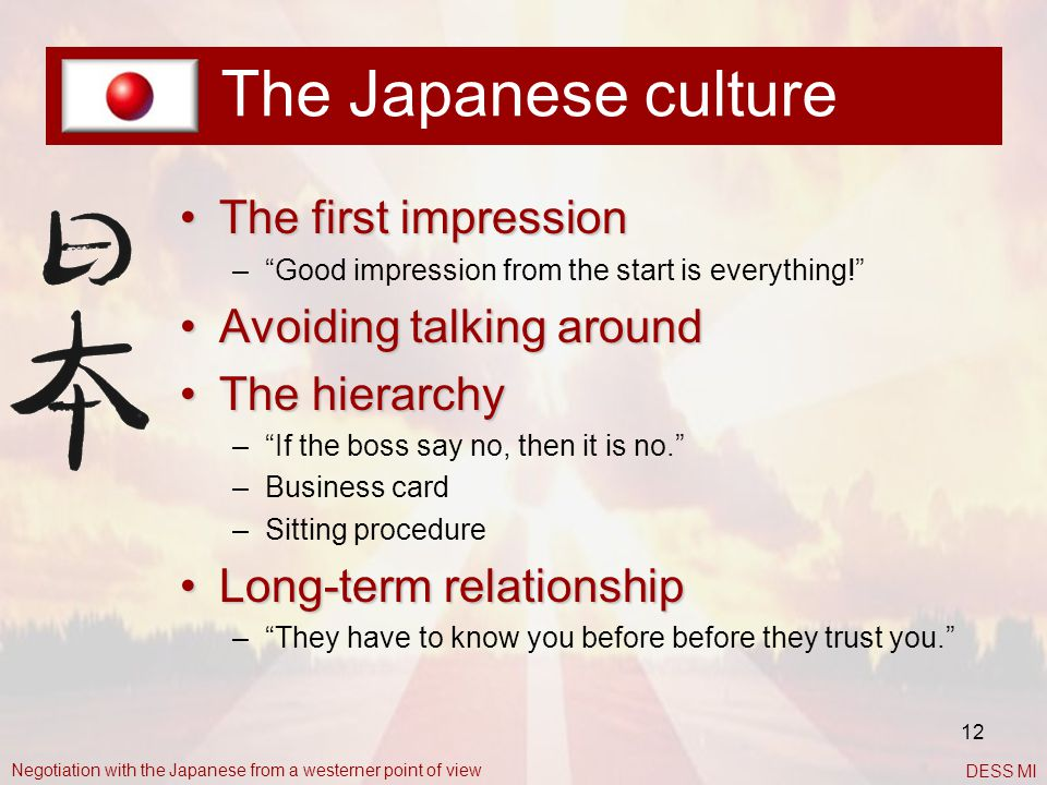 The Japanese culture The first impression Avoiding talking around