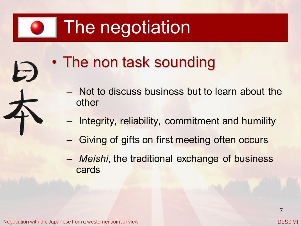 The negotiation The non task sounding