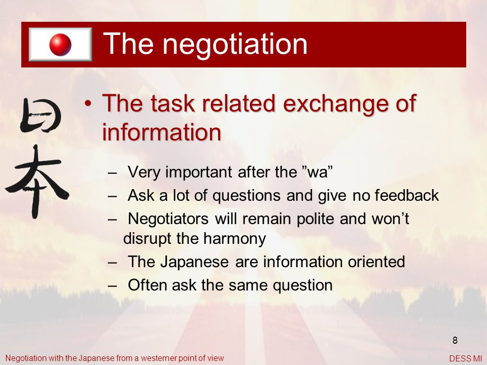 The negotiation The task related exchange of information