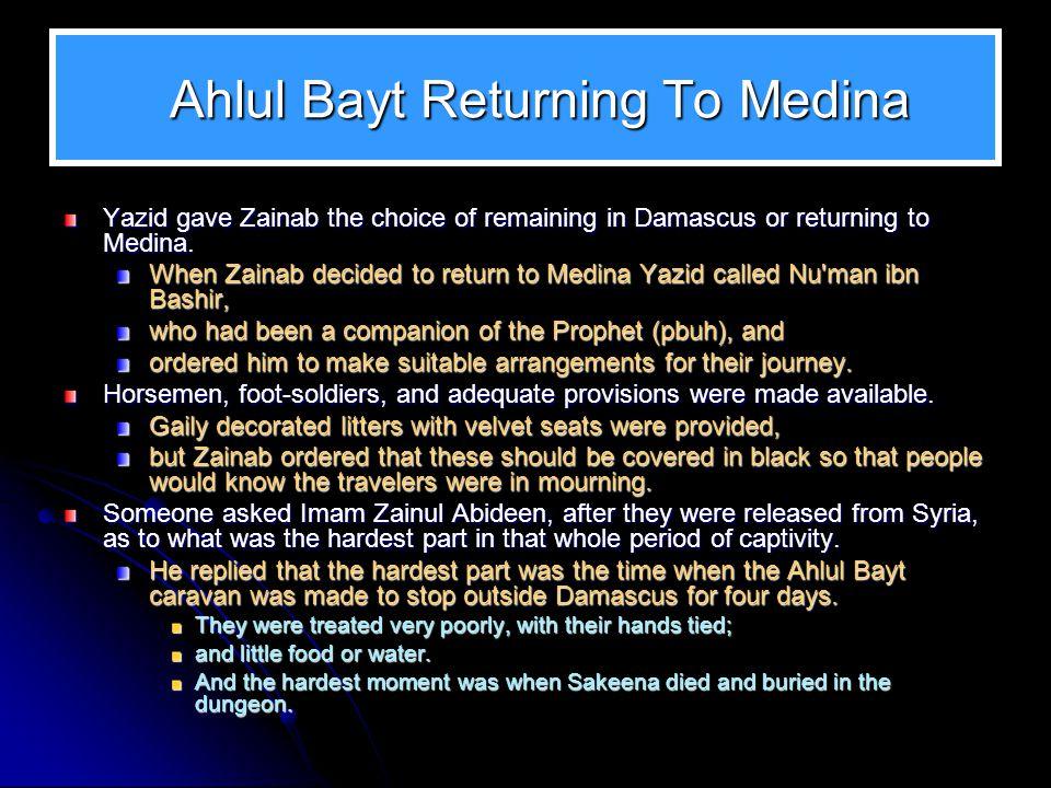 Ahlul Bayt Returning To Medina