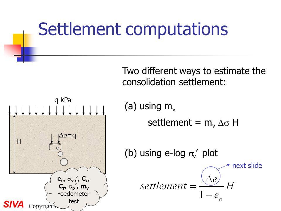 Settlement computations
