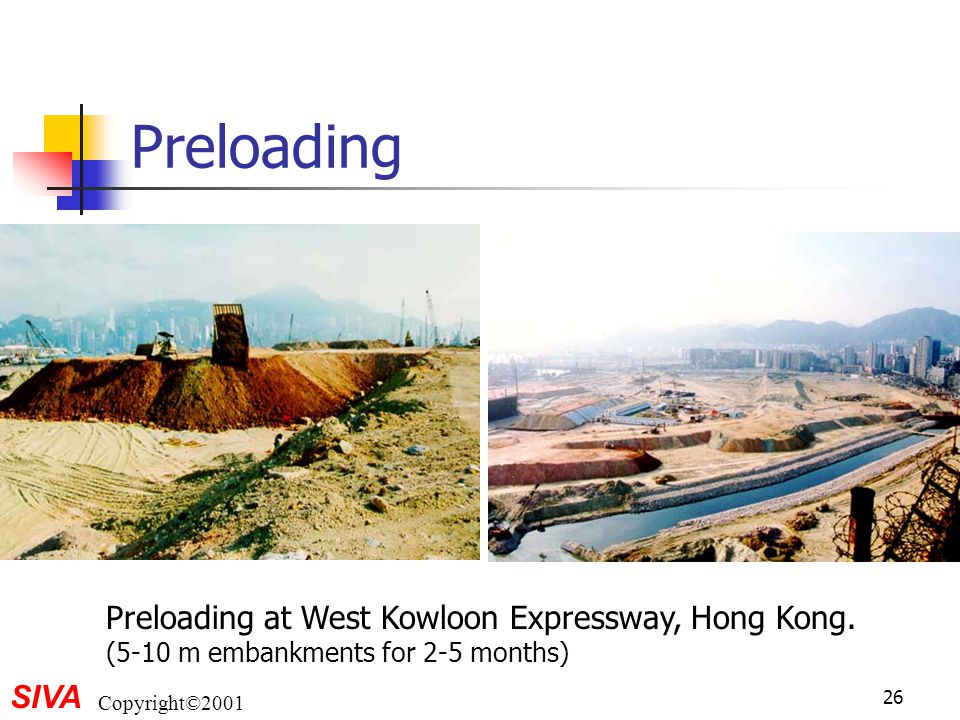 Preloading Preloading at West Kowloon Expressway, Hong Kong. (5-10 m embankments for 2-5 months)