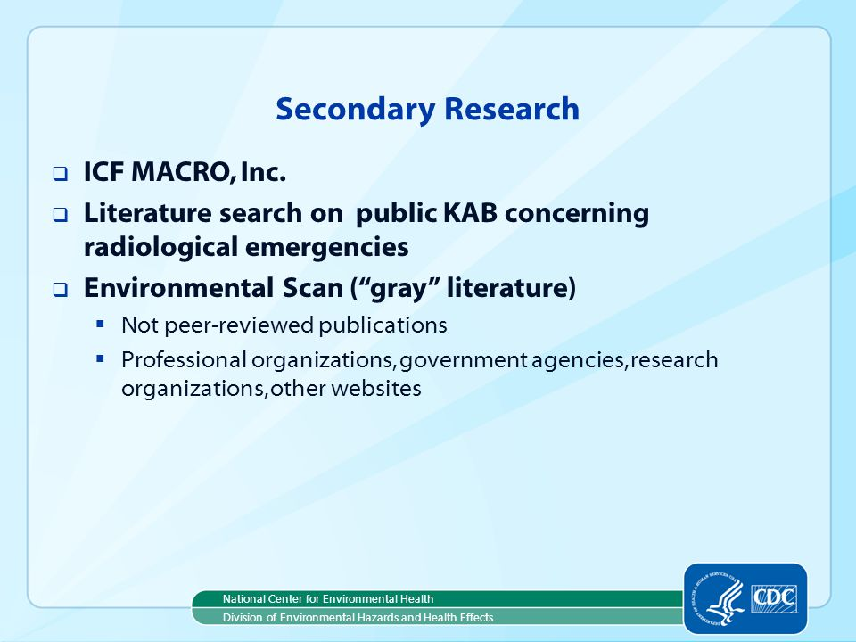 Secondary Research ICF MACRO, Inc.