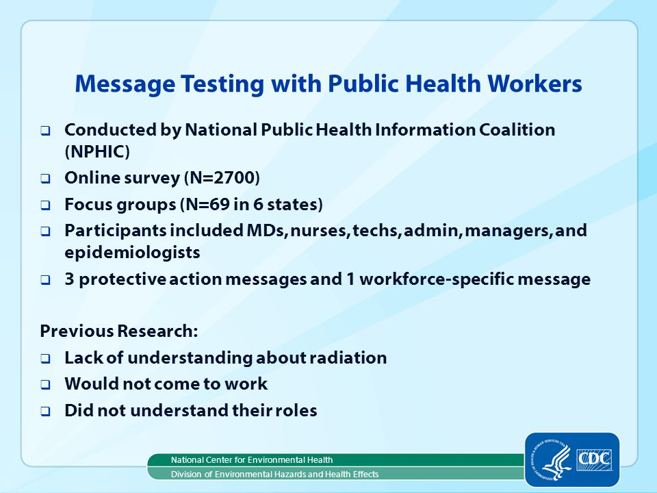 Message Testing with Public Health Workers
