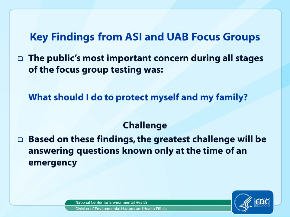 Key Findings from ASI and UAB Focus Groups