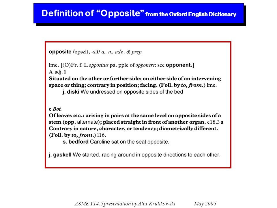 Definition of Opposite from the Oxford English Dictionary