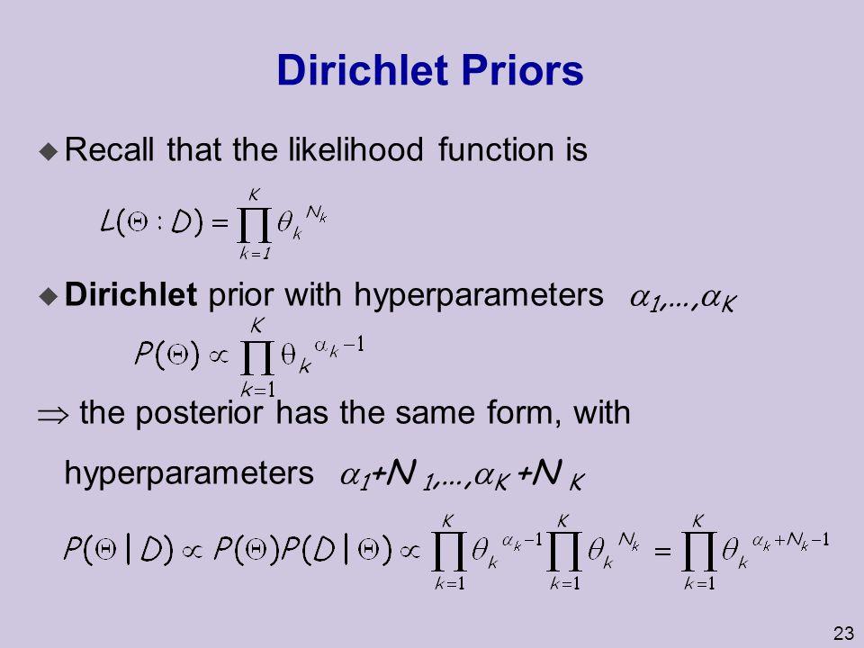Dirichlet Priors Recall that the likelihood function is