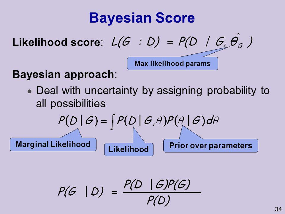 Bayesian Score Likelihood score: Bayesian approach: