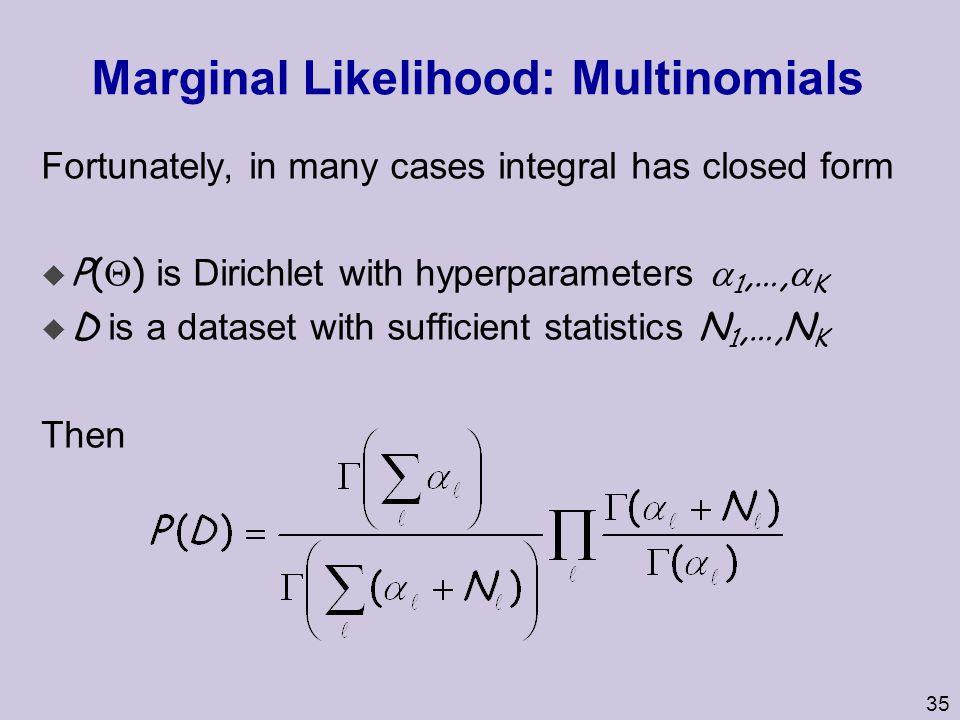 Marginal Likelihood: Multinomials