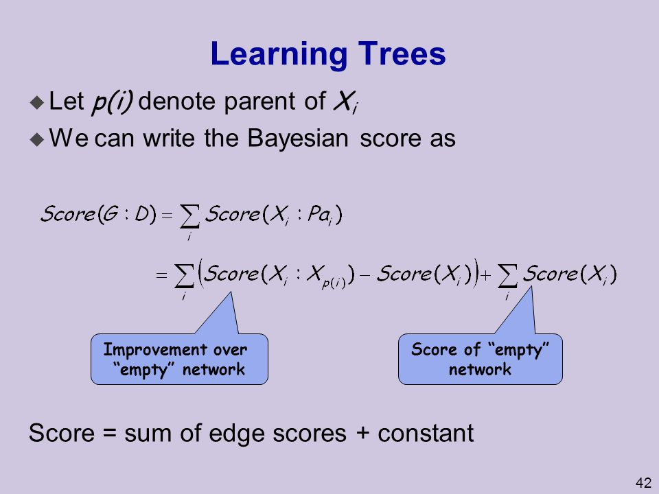 Learning Trees Let p(i) denote parent of Xi