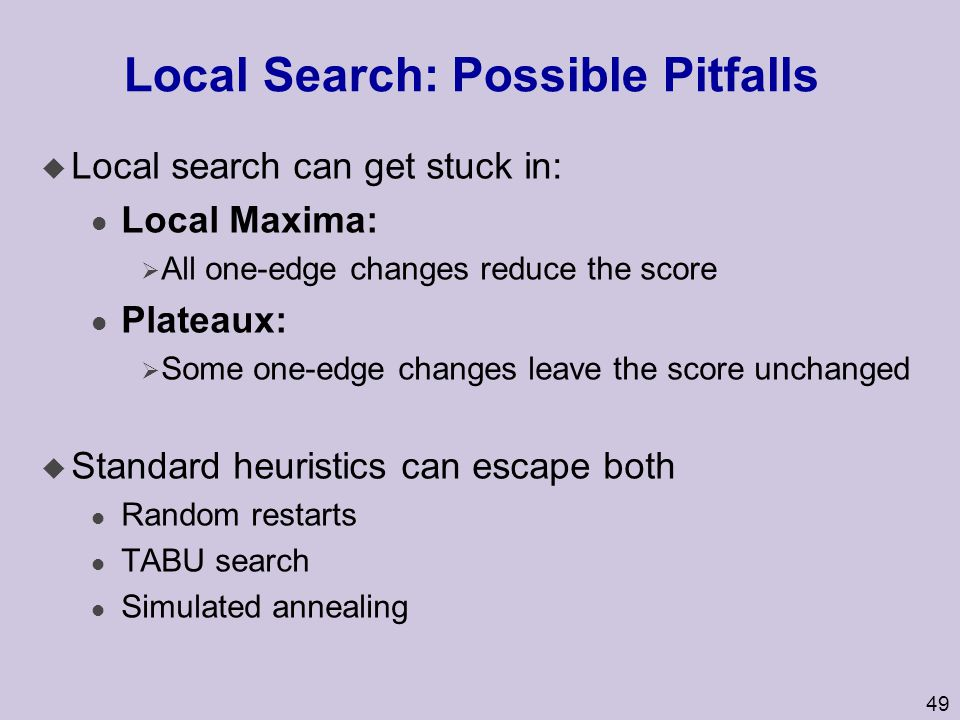 Local Search: Possible Pitfalls