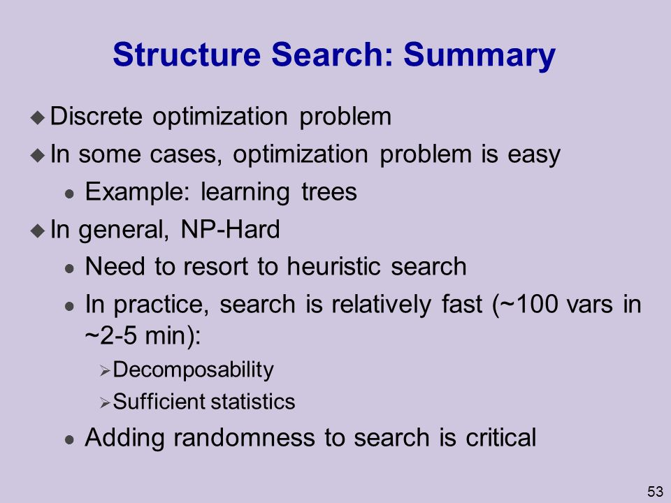 Structure Search: Summary