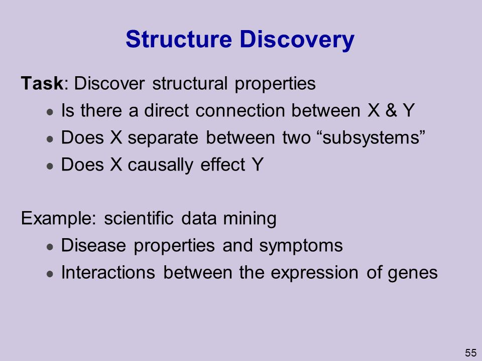 Structure Discovery Task: Discover structural properties